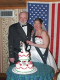 Dennis and Lisa with wedding cake